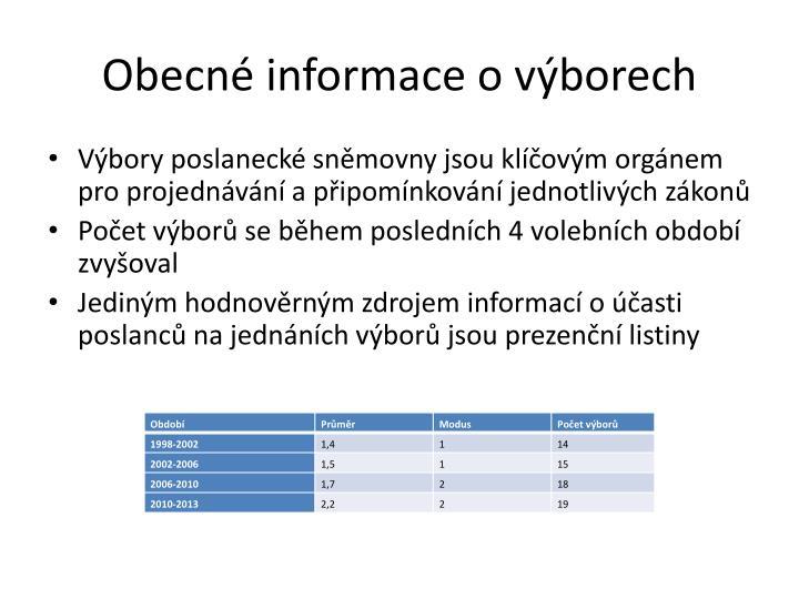 Obecné informace o výborech