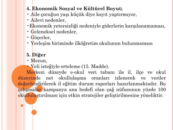 4. Ekonomik Sosyal ve Kltrel Boyut;