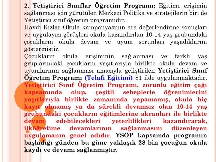 2. Yetitirici Snflar retim Program: