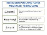 instrumen penilaian harus memenuhi persyaratan
