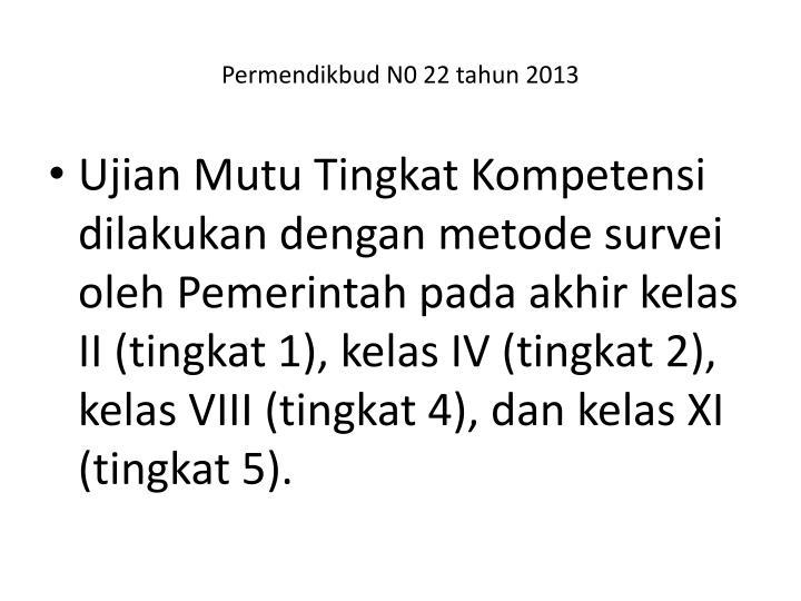 Permendikbud N0 22 tahun 2013