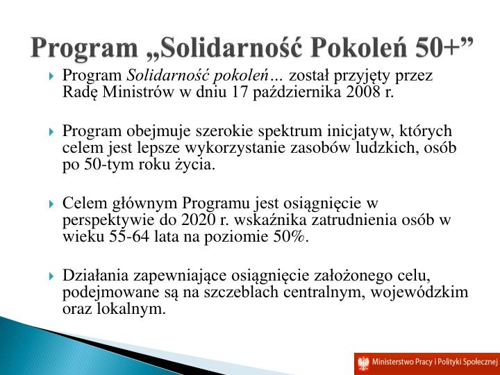 "Program ""Solidarność Pokoleń 50+"""