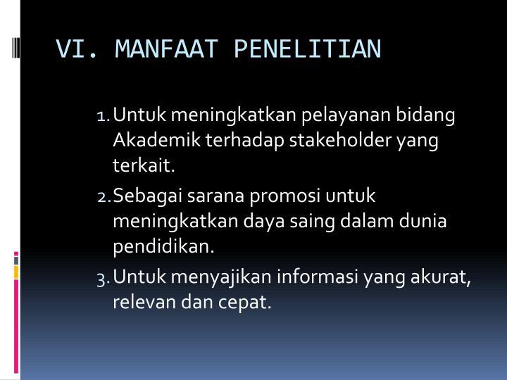VI. MANFAAT PENELITIAN
