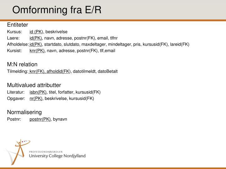 Omformning fra E/R