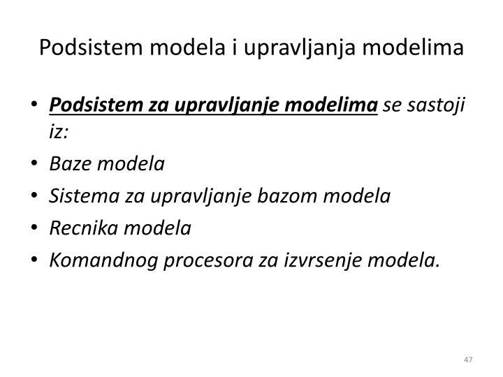 Podsistem modela i upravljanja modelima