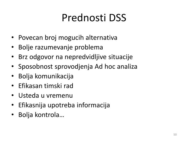 Prednosti DSS
