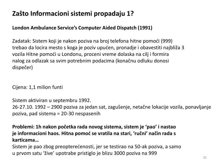 Zašto Informacioni sistemi propadaju 1?
