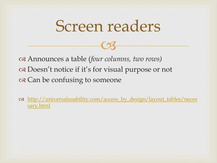 Screen readers