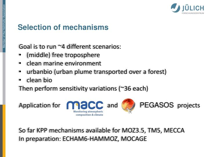 Selection of mechanisms