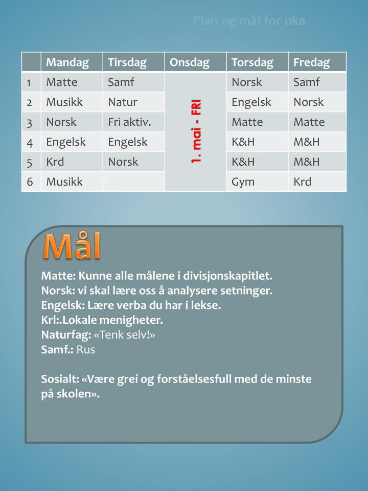 Plan og mål for uka