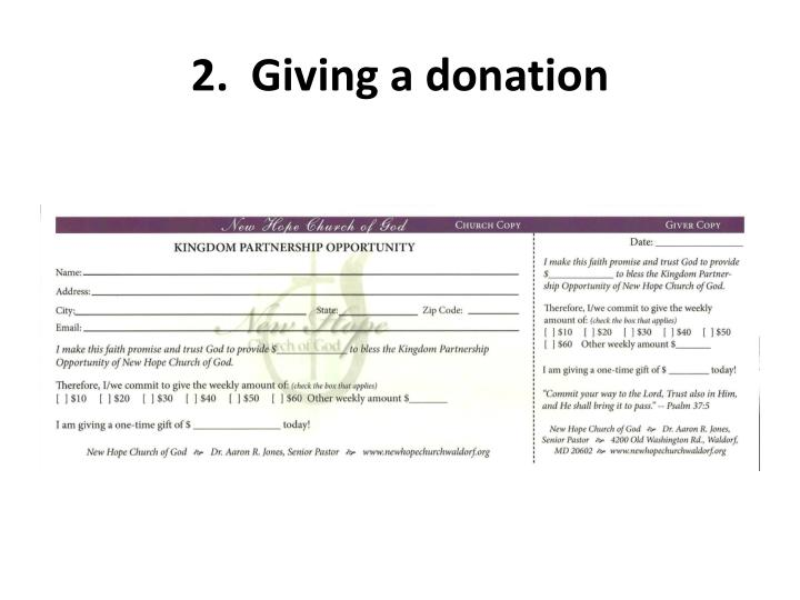 2 giving a donation