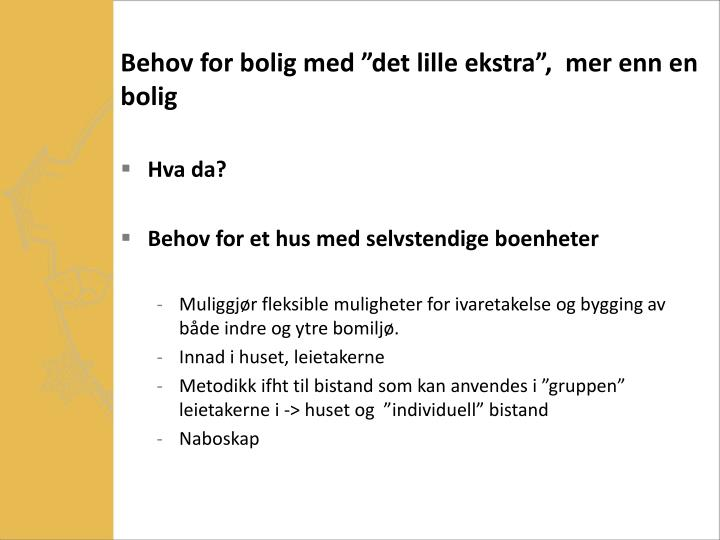 Behov for bolig