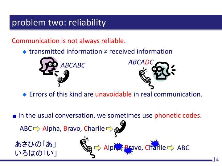 problem two: reliability