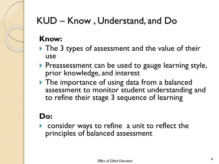 KUD – Know , Understand, and Do