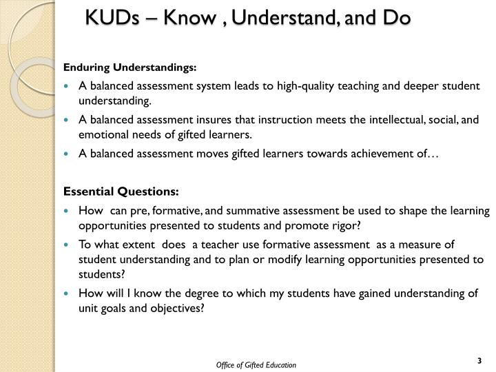 KUDs – Know , Understand, and Do