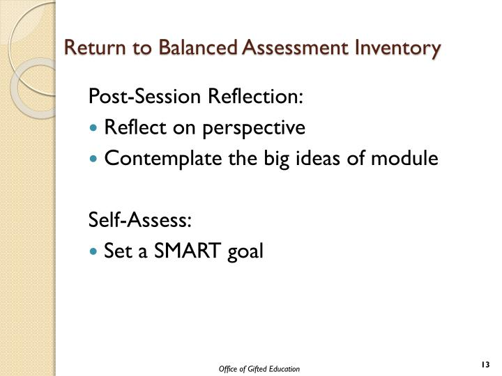 Return to Balanced Assessment Inventory