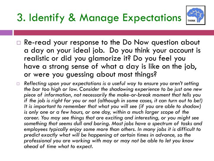 3. Identify & Manage Expectations