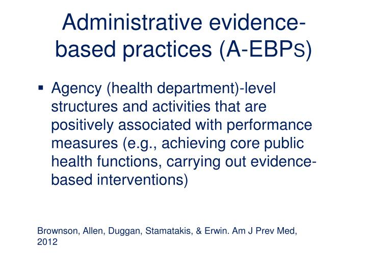Administrative evidence-based practices (A-EBP