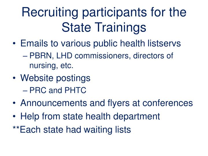 Recruiting participants for the