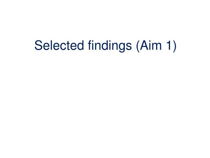Selected findings (Aim 1)