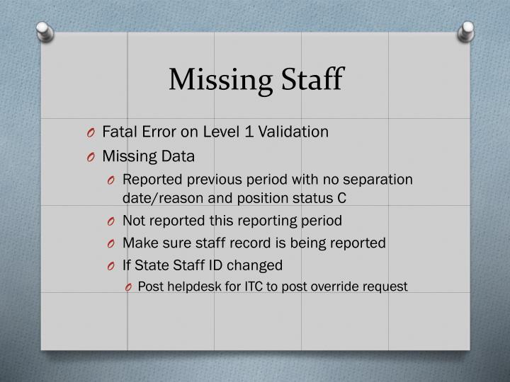 Missing Staff