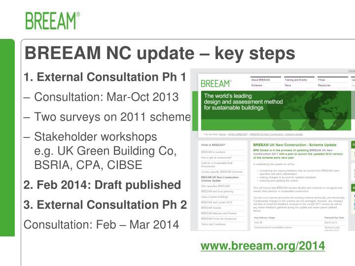 BREEAM NC update – key steps