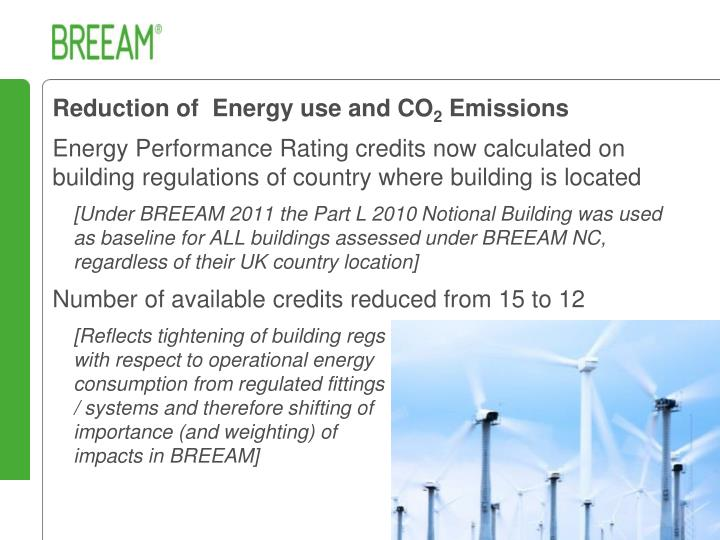 Reduction of  Energy use and CO
