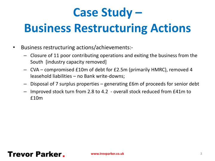 Case study business restructuring actions