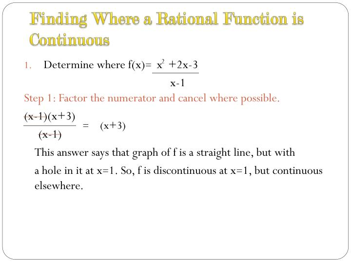 how to find continuity of a rational function