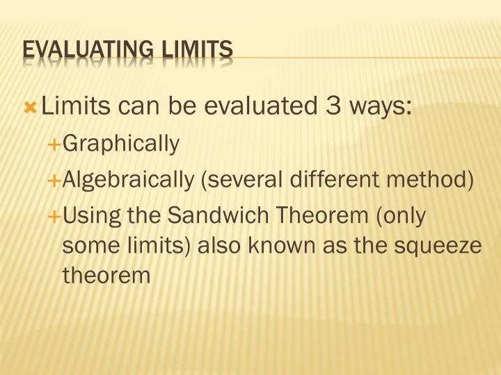 Limits can be evaluated 3 ways: