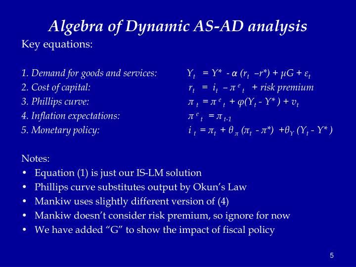 Algebra of Dynamic AS-AD analysis