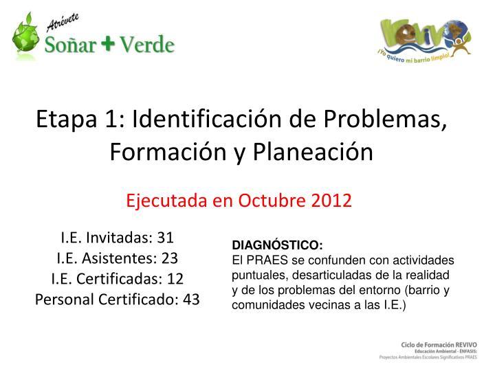 Etapa 1: Identificación de Problemas, Formación y Planeación