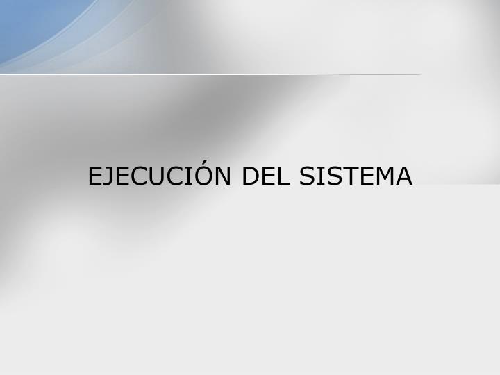 EJECUCIÓN DEL SISTEMA