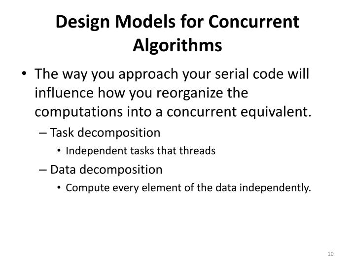 Design Models for Concurrent Algorithms