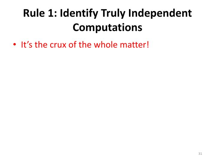 Rule 1: Identify Truly Independent Computations
