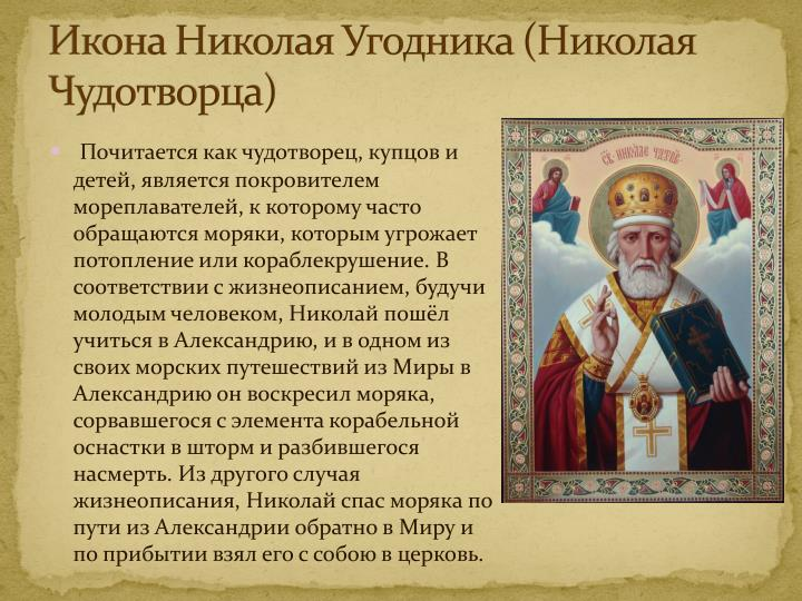 Икона Николая Угодника (Николая Чудотворца)