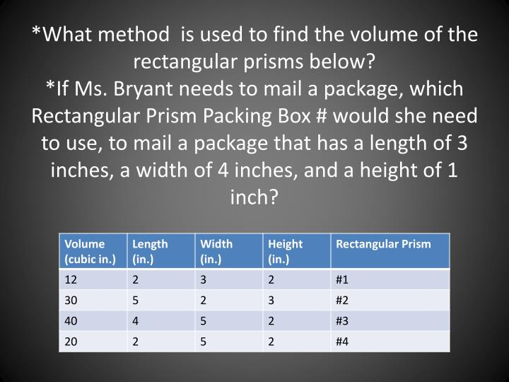 *What method  is used to find the volume of the rectangular prisms below?