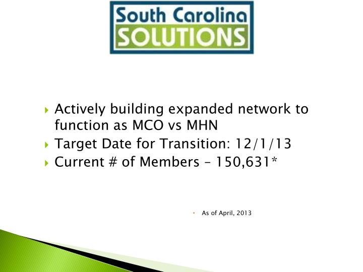 Actively building expanded network to function as MCO