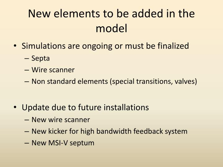 New elements to be added in the model