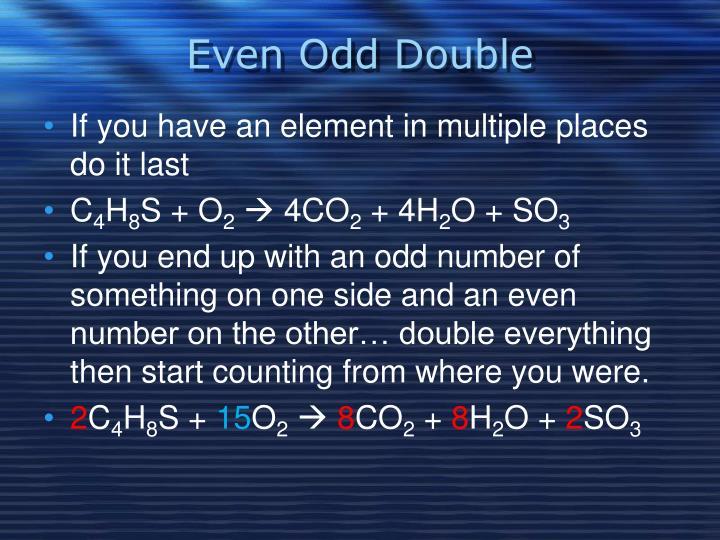Even Odd Double