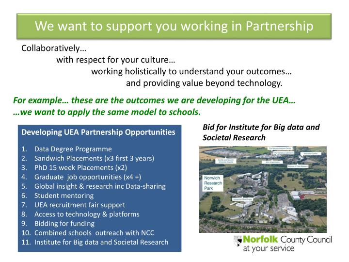 We want to support you working in Partnership