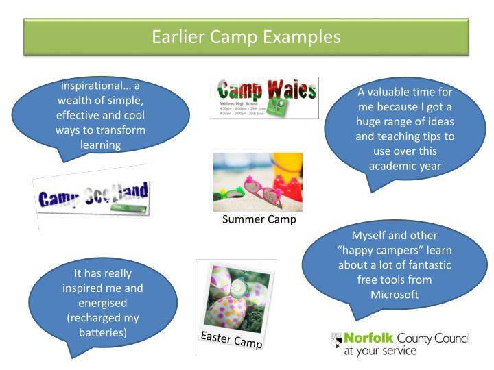 Earlier Camp Examples