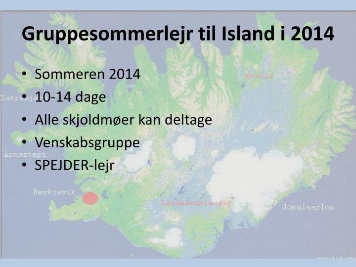 Gruppesommerlejr til Island i 2014