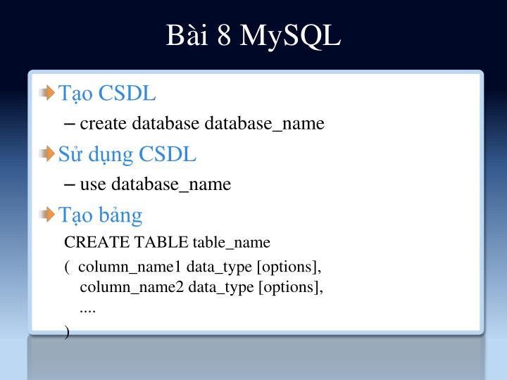 Bài 8 MySQL
