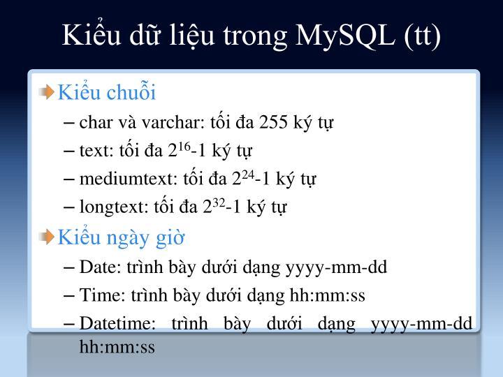 Kiểu dữ liệu trong MySQL (tt)