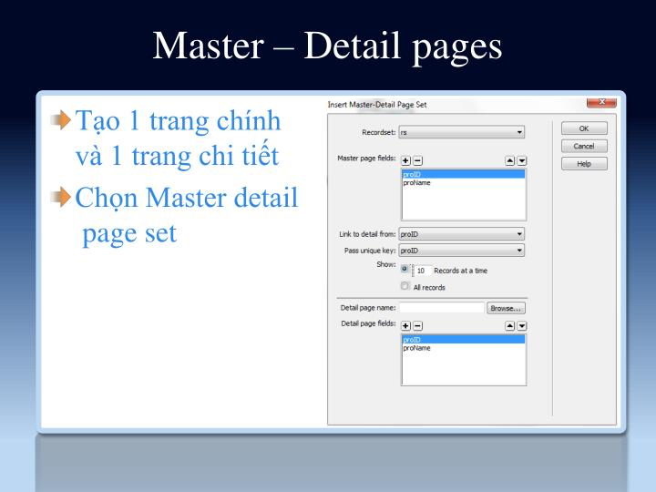 Master – Detail pages