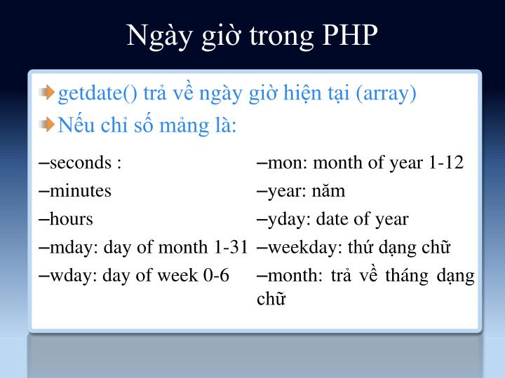 Ngày giờ trong PHP