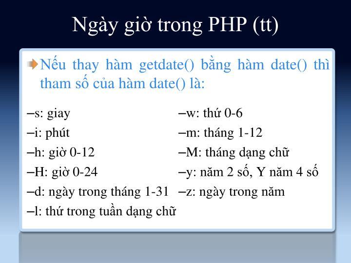 Ngày giờ trong PHP (tt)