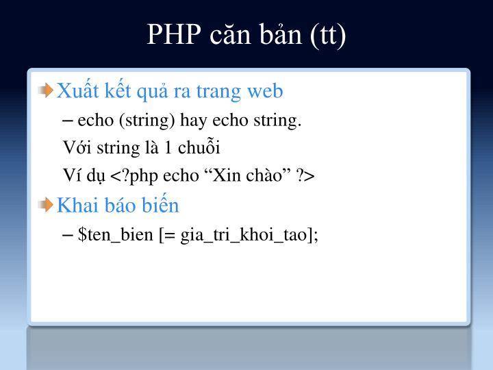 PHP căn bản (tt)