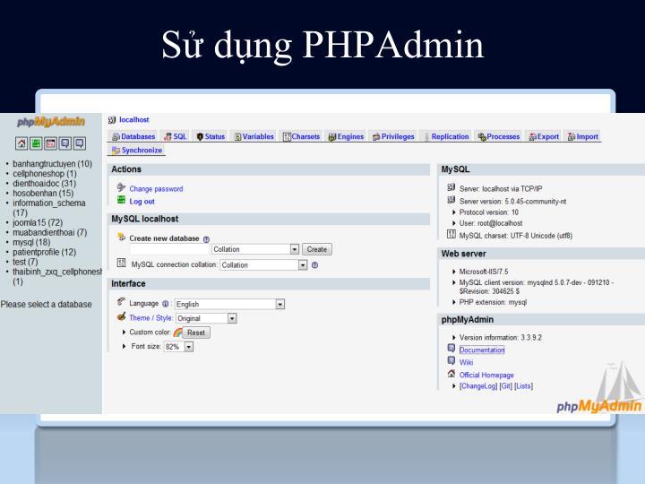 Sử dụng PHPAdmin